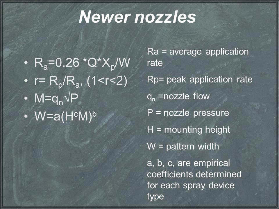 Newer nozzles Ra=0.26 *Q*Xp/W r= Rp/Ra, (1<r<2) M=qn√P W=a(HcM)b