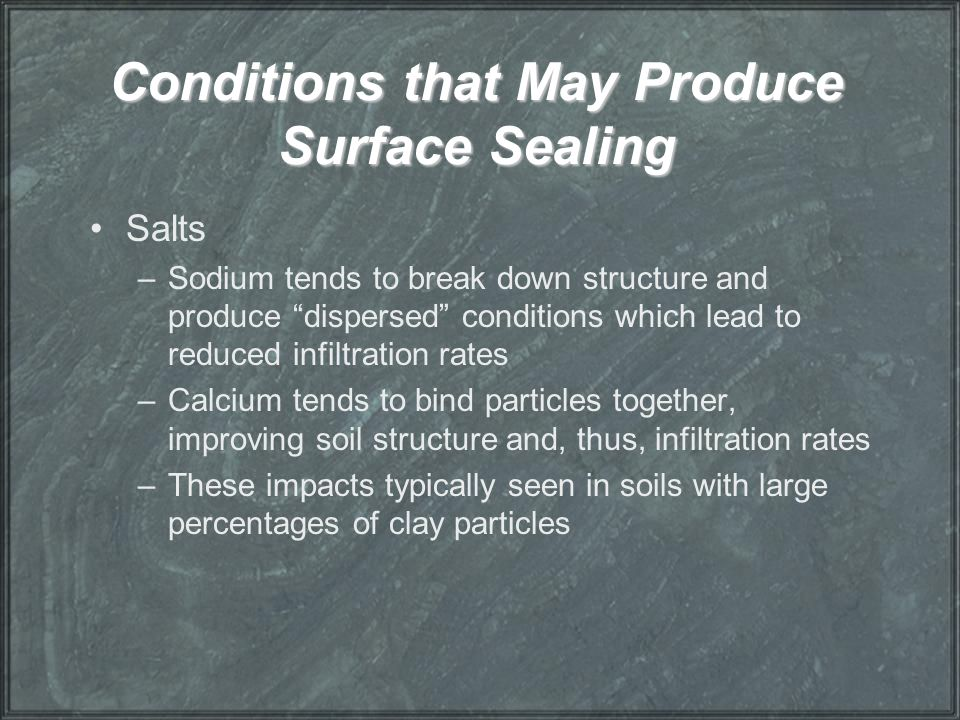 Conditions that May Produce Surface Sealing