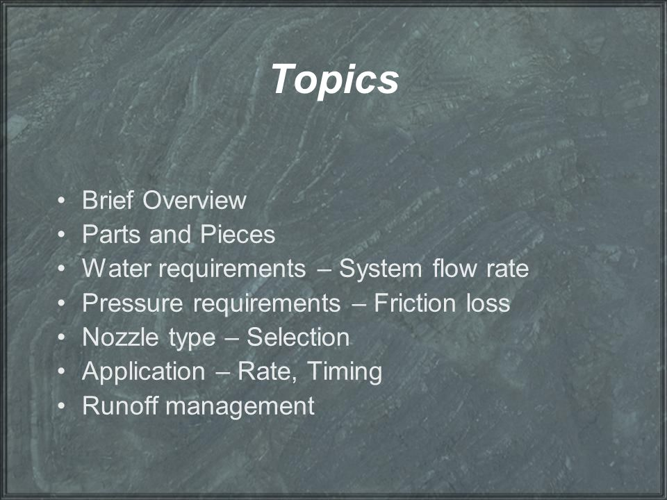 Topics Brief Overview Parts and Pieces