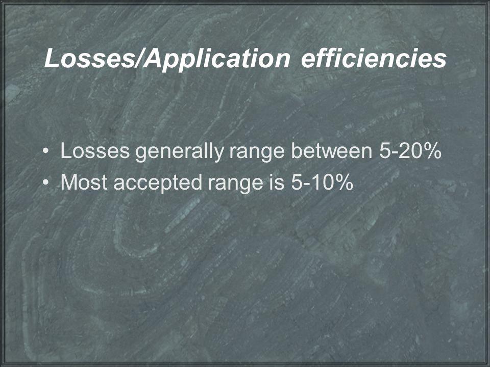 Losses/Application efficiencies