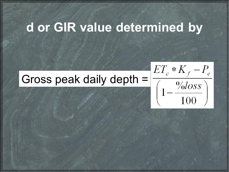 d or GIR value determined by