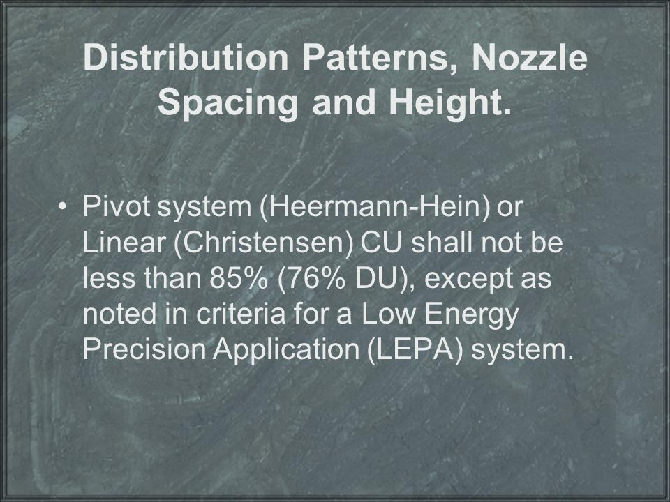 Distribution Patterns, Nozzle Spacing and Height.