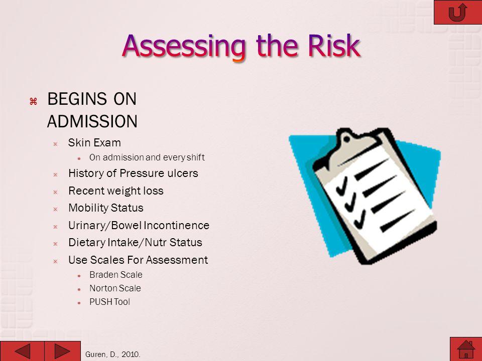 Assessing the Risk BEGINS ON ADMISSION Skin Exam