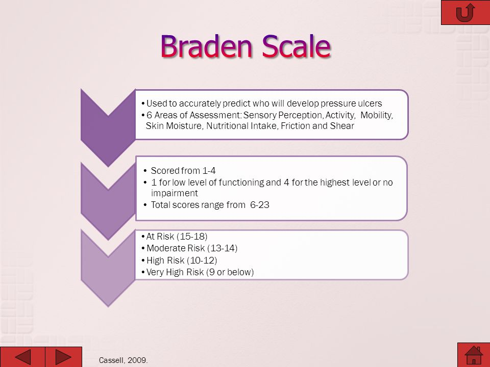 Braden Scale Used to accurately predict who will develop pressure ulcers.