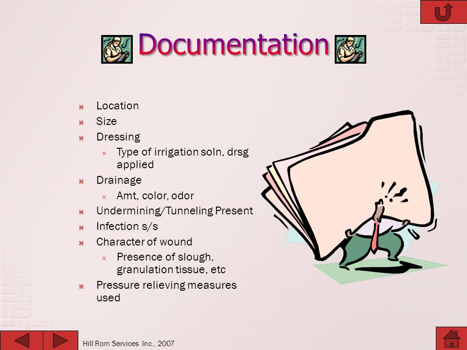 Documentation Location Size Dressing