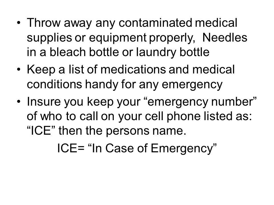 ICE= In Case of Emergency