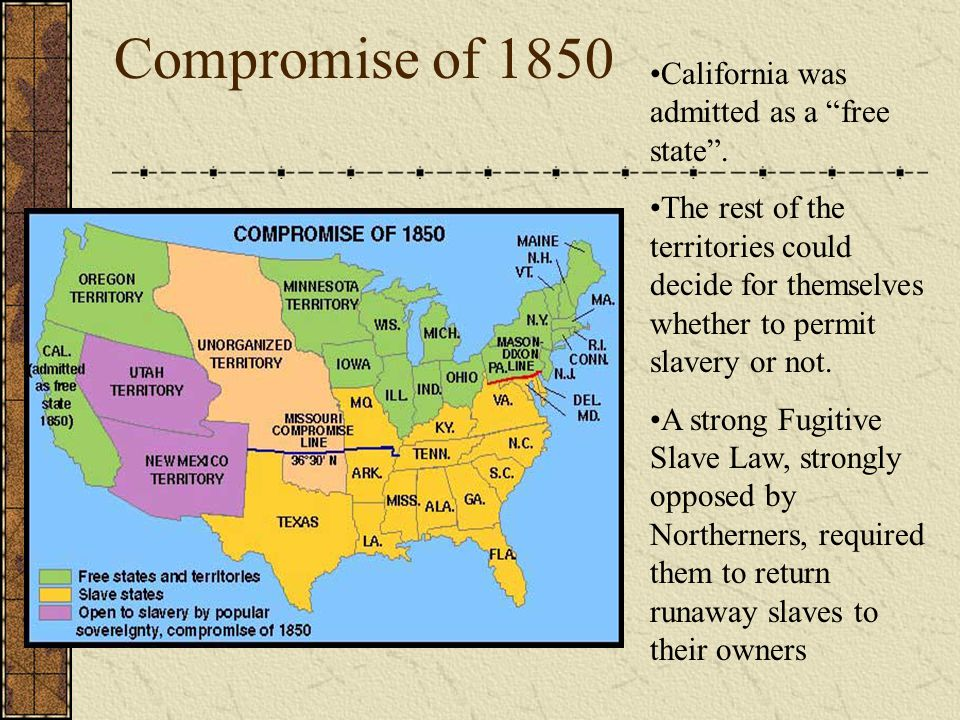 Compromise of 1850 California was admitted as a free state .
