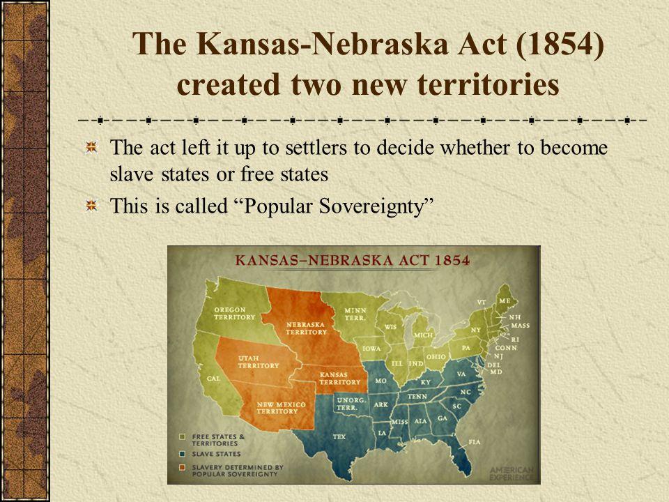 The Kansas-Nebraska Act (1854) created two new territories