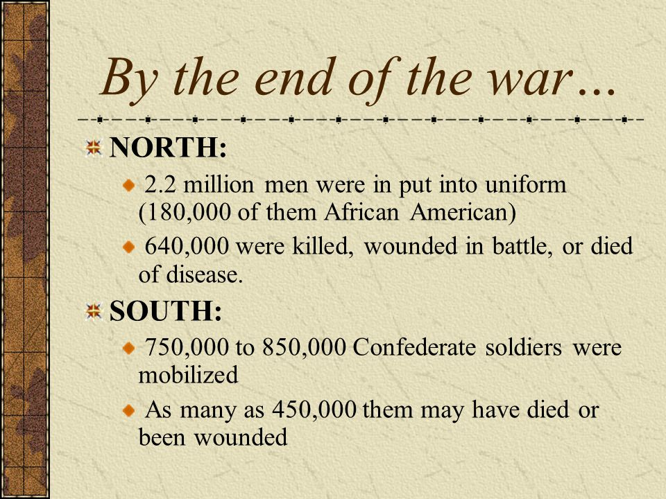 By the end of the war… NORTH: SOUTH: