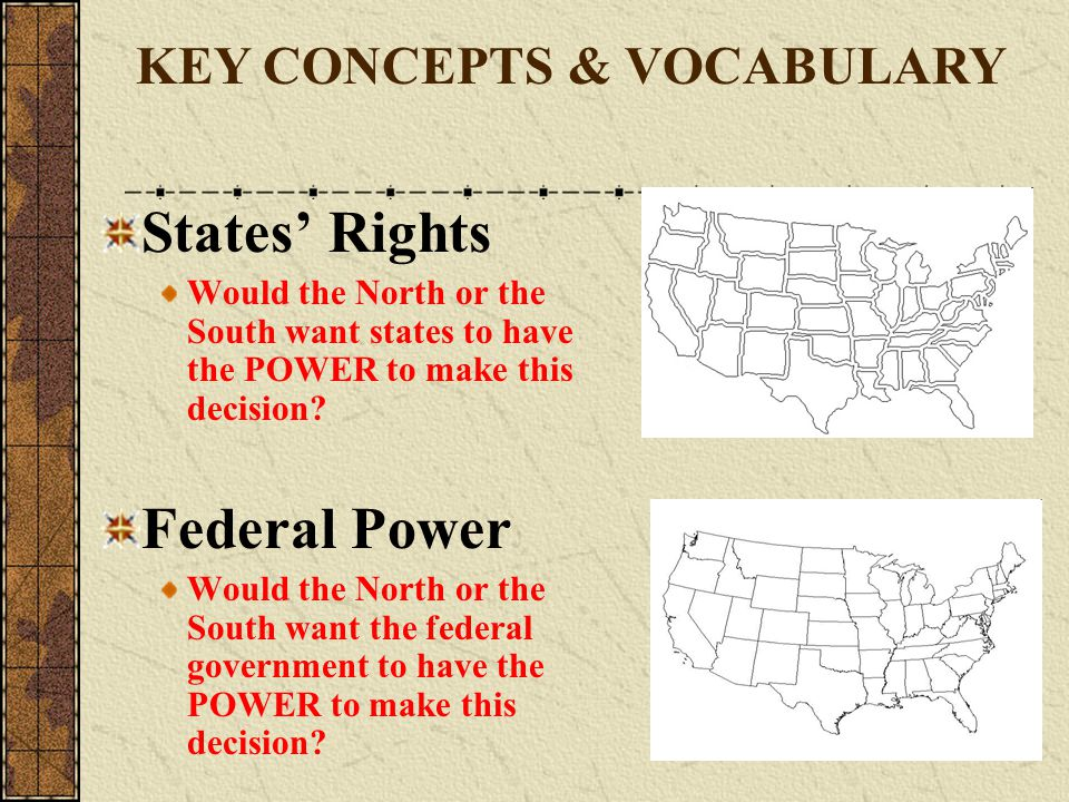 States' Rights Federal Power KEY CONCEPTS & VOCABULARY