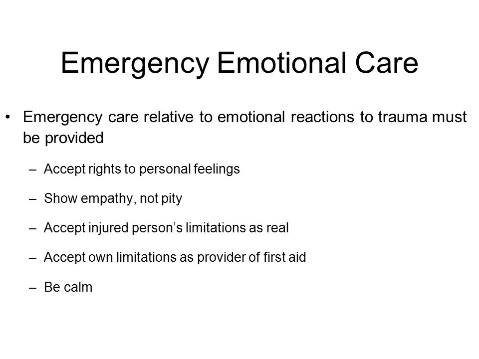 Emergency Emotional Care