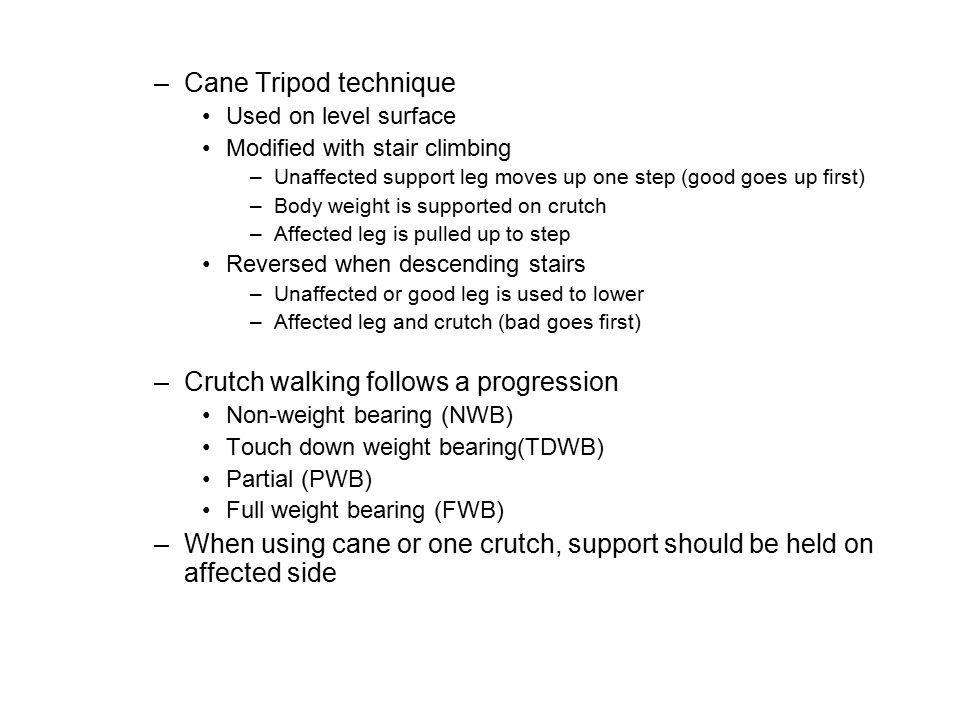 Crutch walking follows a progression