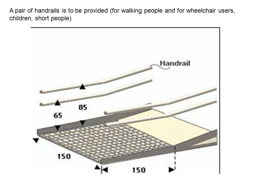 A pair of handrails is to be provided (for walking people and for wheelchair users, children, short people)