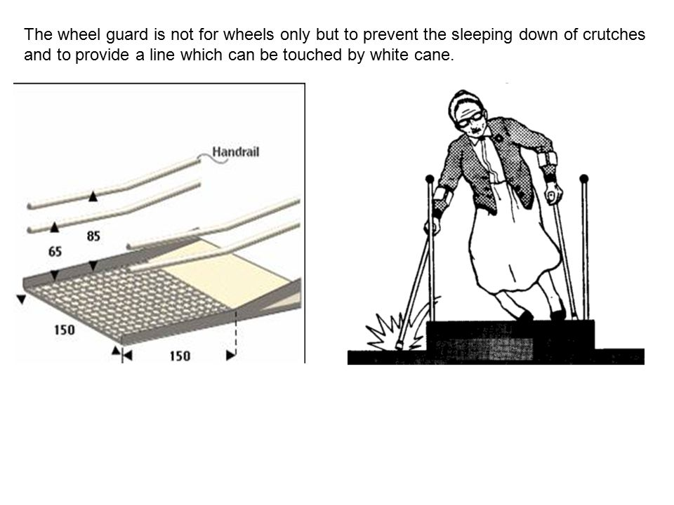 The wheel guard is not for wheels only but to prevent the sleeping down of crutches and to provide a line which can be touched by white cane.