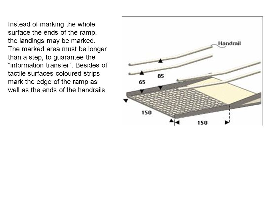 Instead of marking the whole surface the ends of the ramp, the landings may be marked.