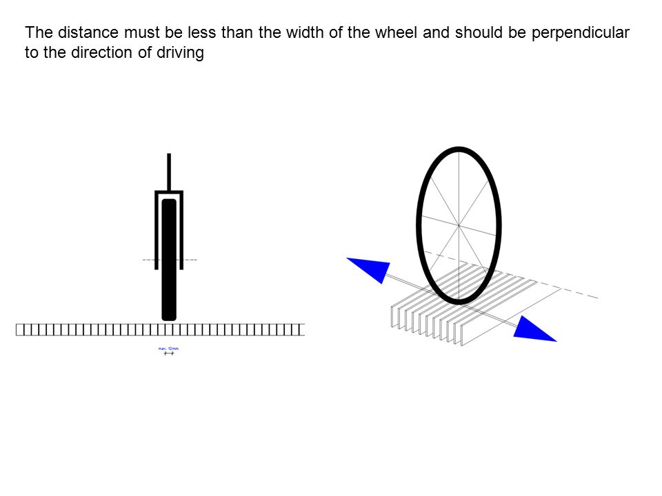 The distance must be less than the width of the wheel and should be perpendicular to the direction of driving