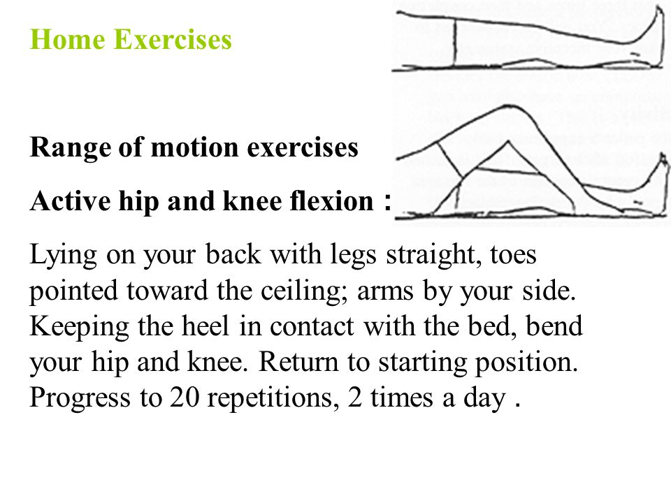 Home Exercises Range of motion exercises. Active hip and knee flexion:
