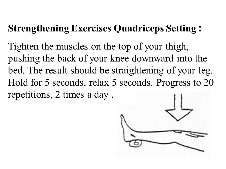 Strengthening Exercises Quadriceps Setting: