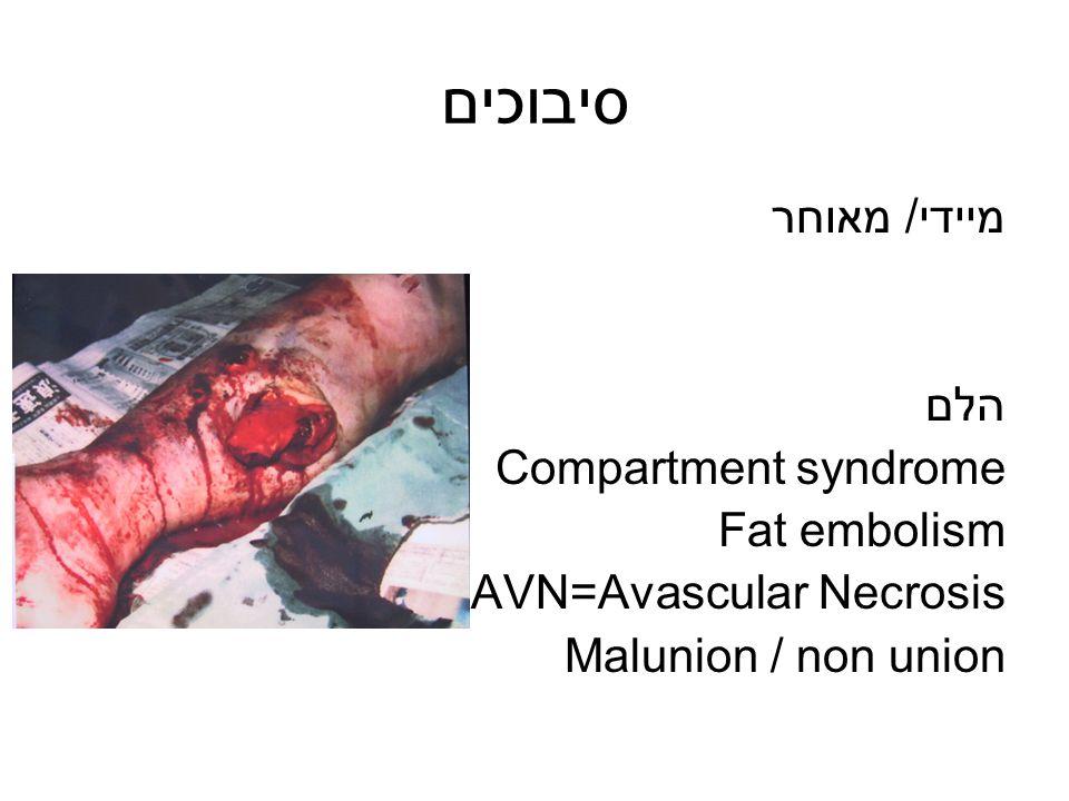 סיבוכים מיידי/ מאוחר הלם Compartment syndrome Fat embolism