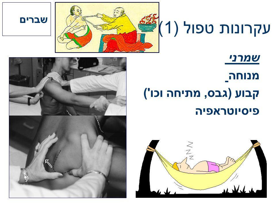 שברים עקרונות טפול (1) שמרני מנוחה קבוע (גבס, מתיחה וכו ) פיסיוטראפיה
