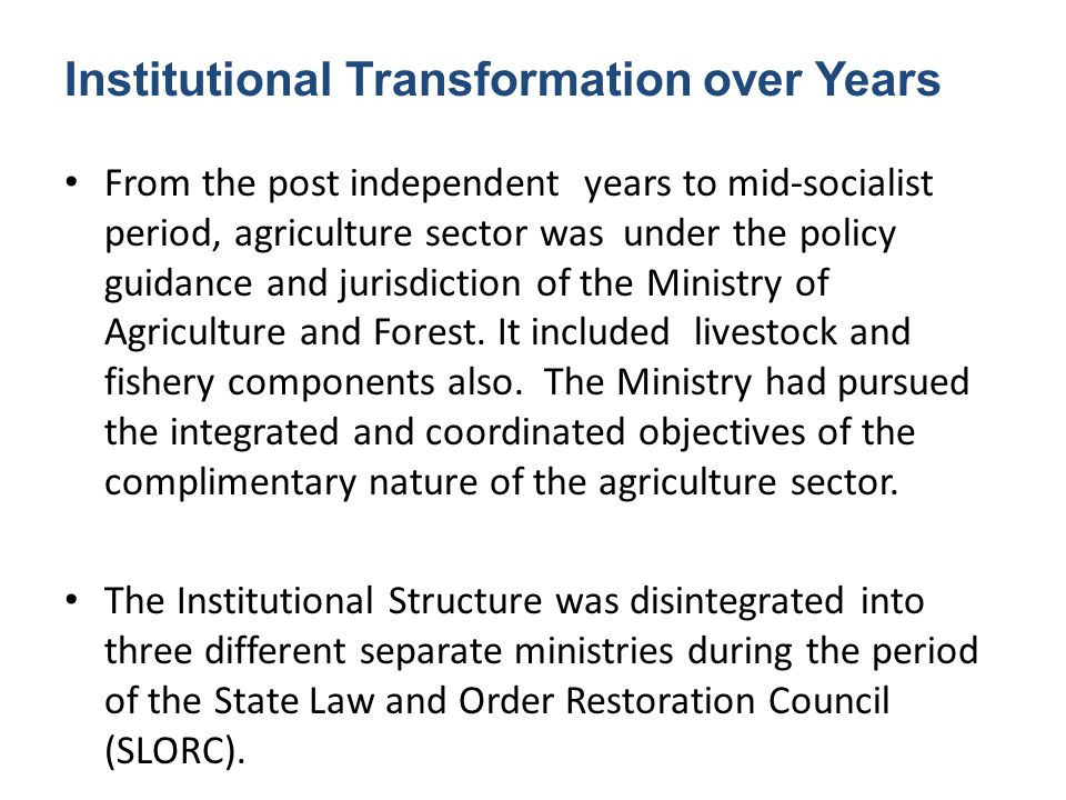 Institutional Transformation over Years