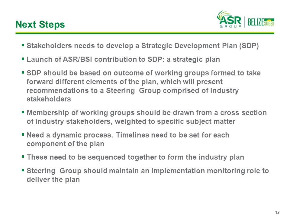 Next Steps Stakeholders needs to develop a Strategic Development Plan (SDP) Launch of ASR/BSI contribution to SDP: a strategic plan.