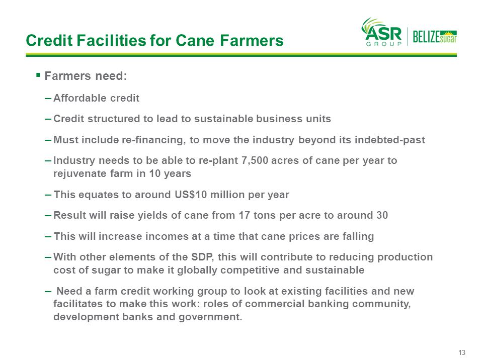 Credit Facilities for Cane Farmers