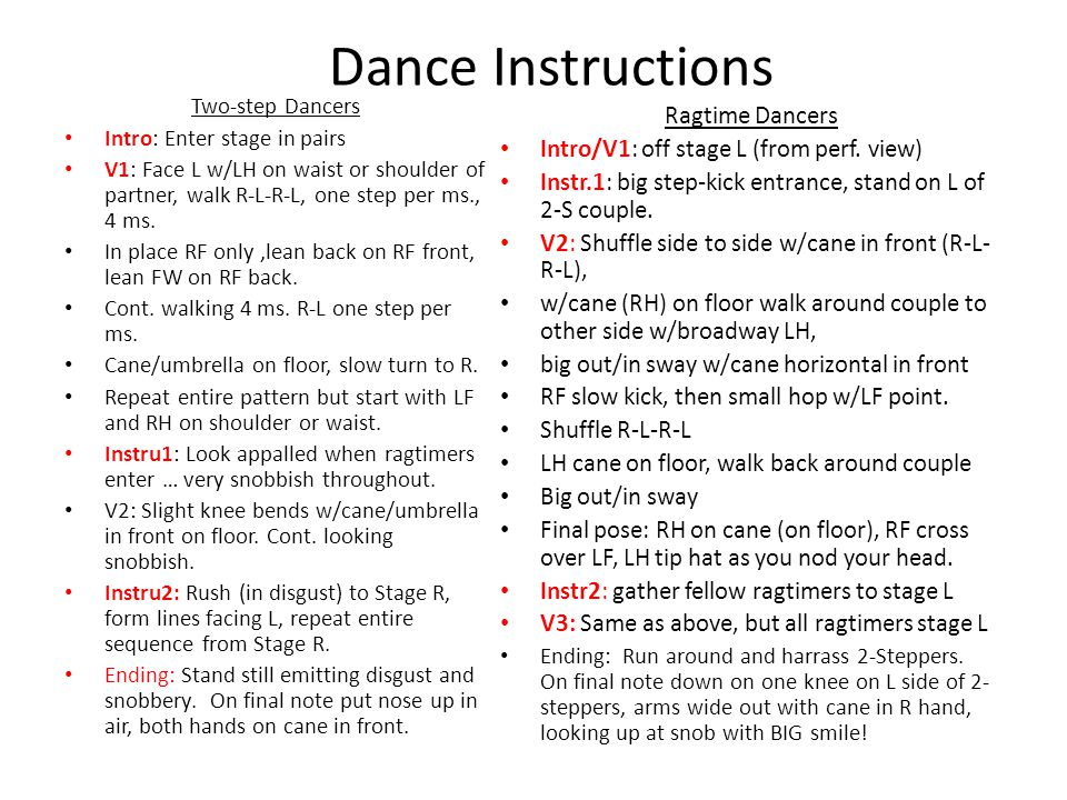 Dance Instructions Ragtime Dancers