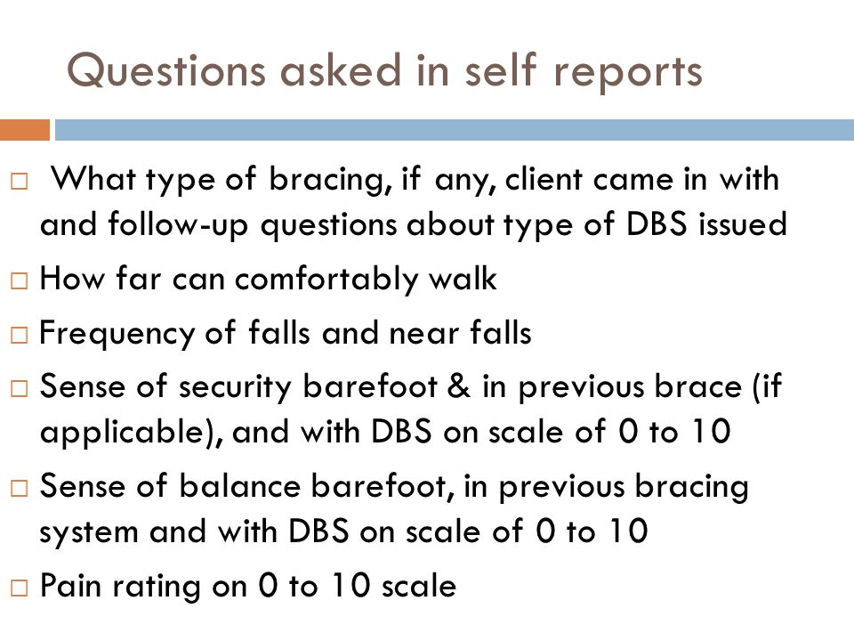 Questions asked in self reports