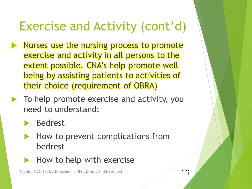 Exercise and Activity (cont'd)