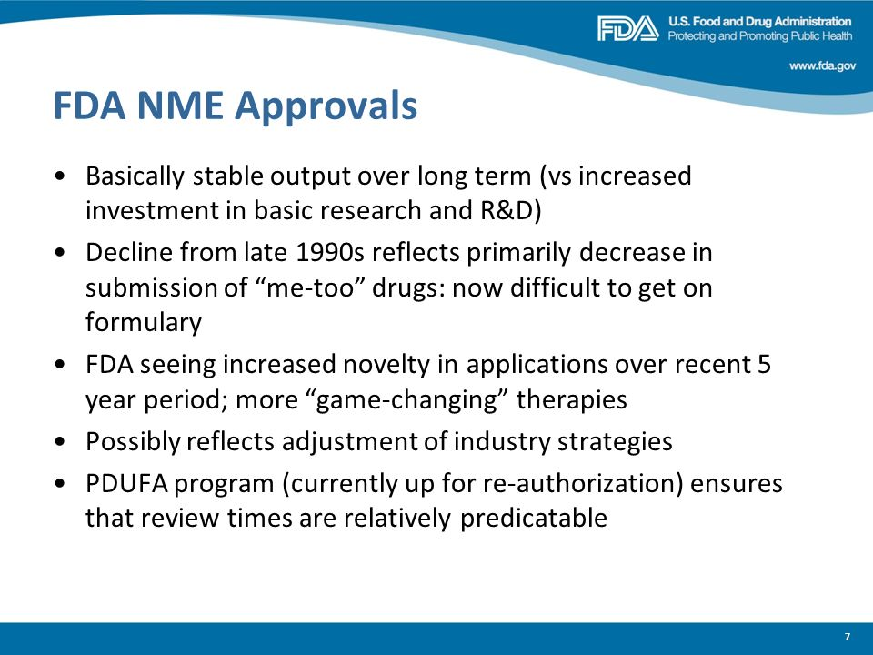 FDA NME Approvals Basically stable output over long term (vs increased investment in basic research and R&D)