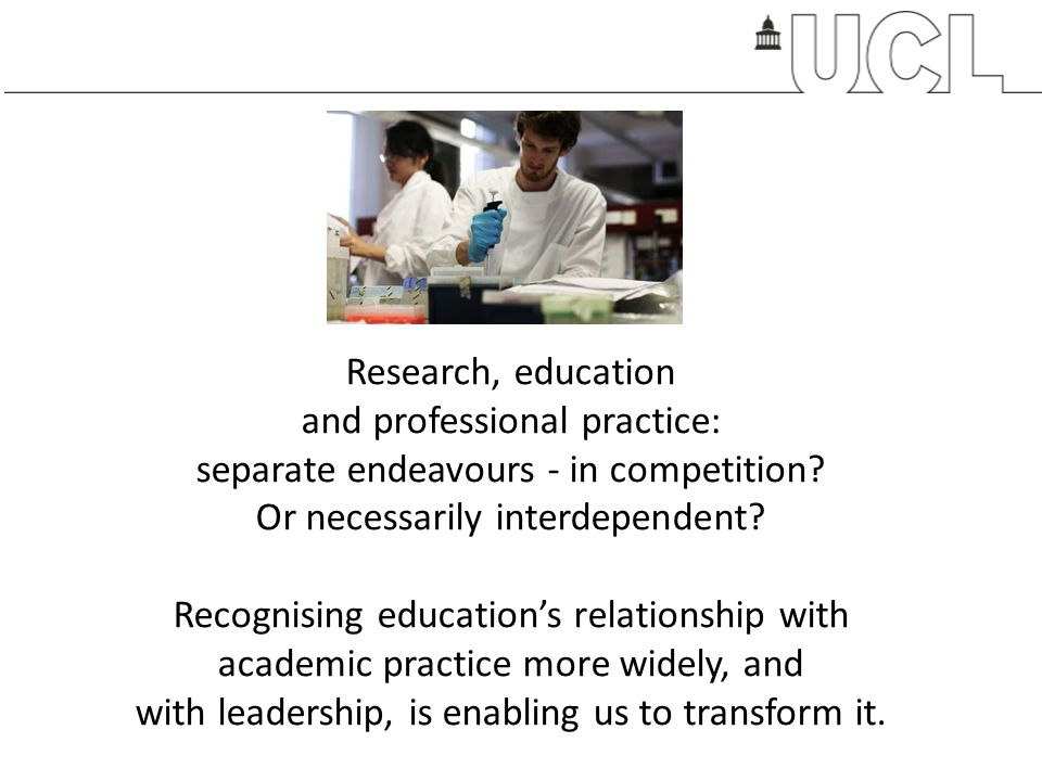 Research, education and professional practice: separate endeavours - in competition.