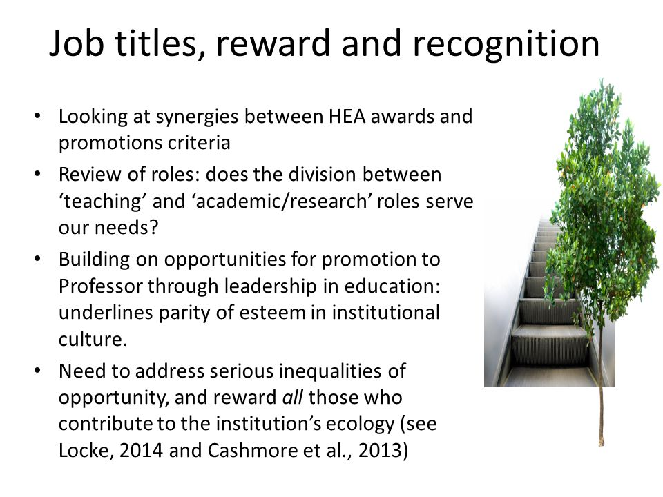 Job titles, reward and recognition