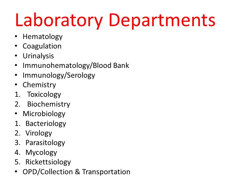 Laboratory Departments