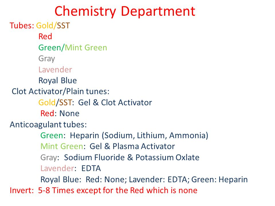 Chemistry Department Tubes: Gold/SST Red Green/Mint Green Gray