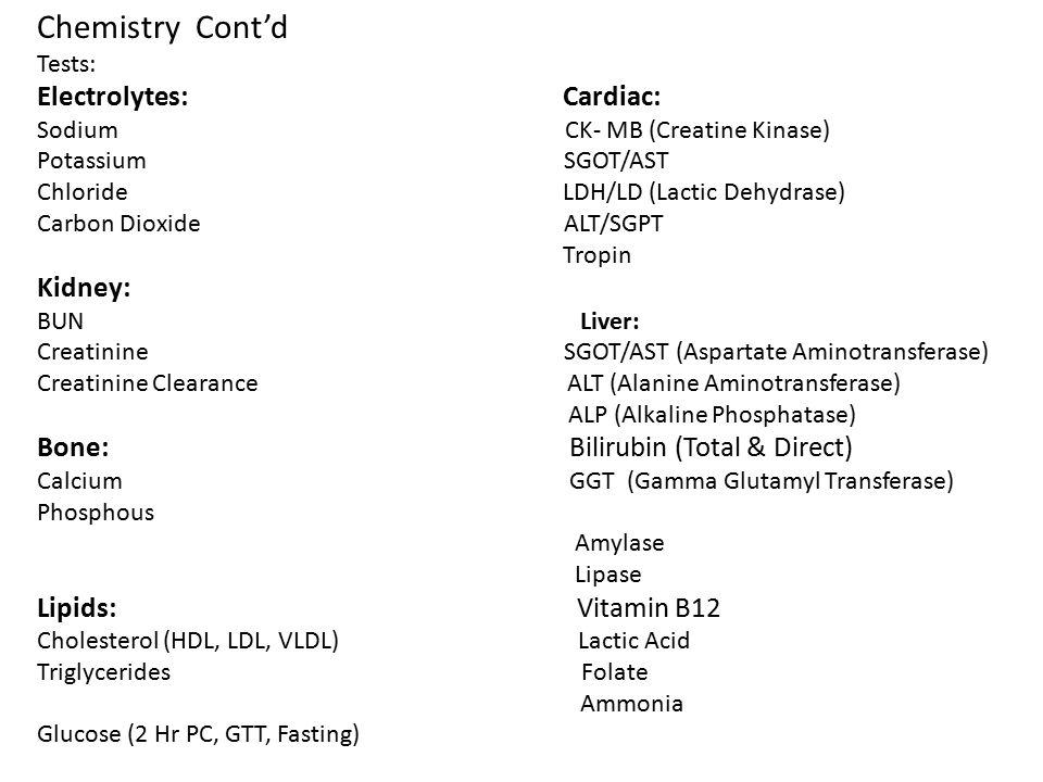 Chemistry Cont'd Electrolytes: Cardiac: Kidney: