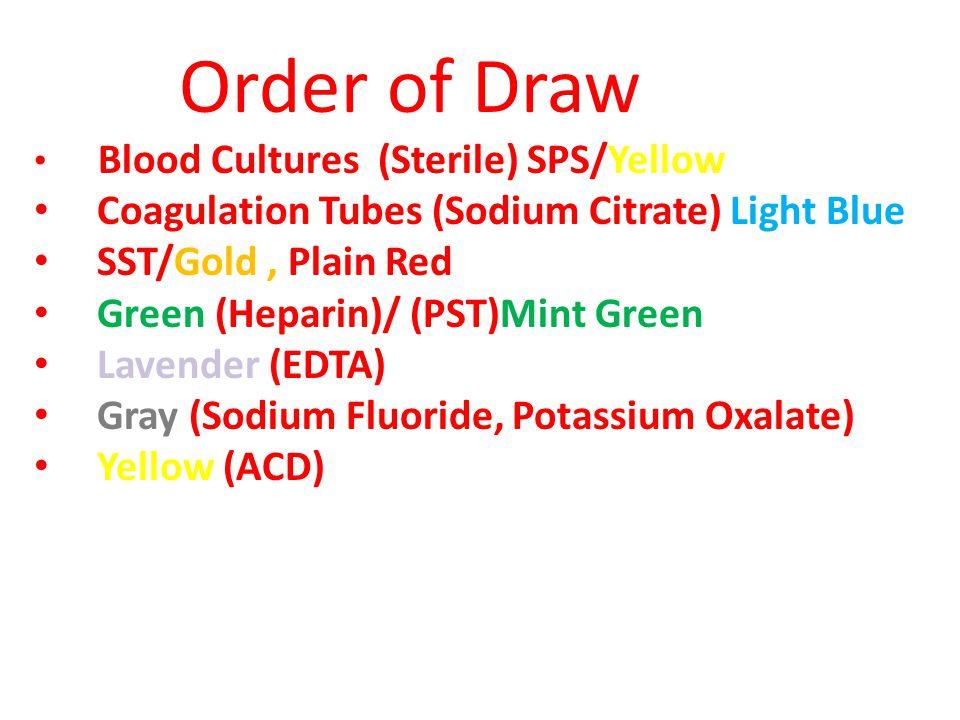 Order of Draw Coagulation Tubes (Sodium Citrate) Light Blue