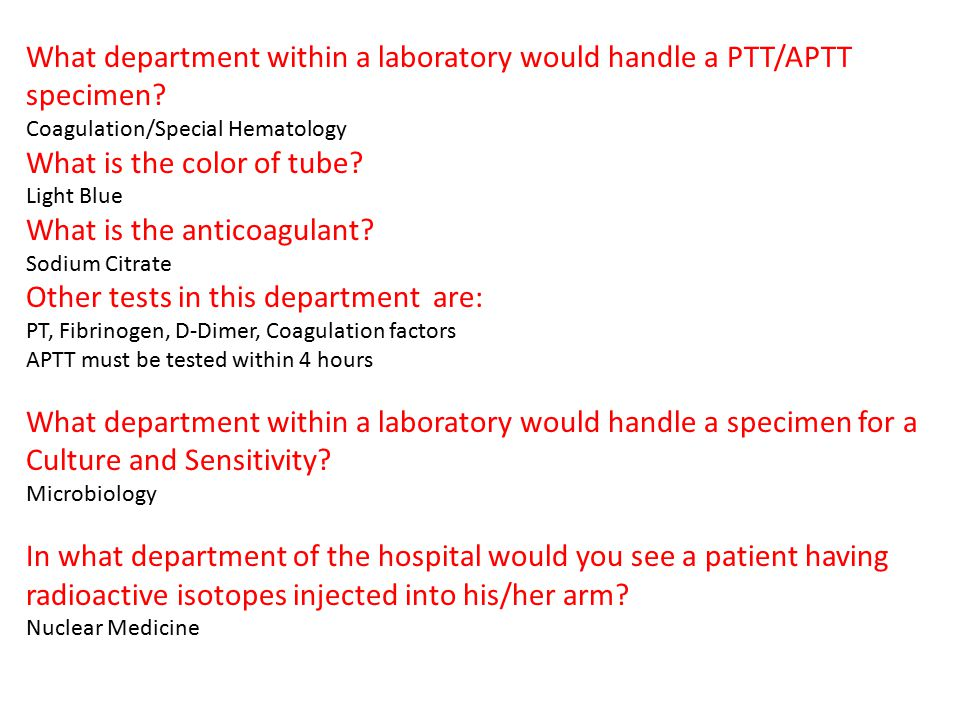 What department within a laboratory would handle a PTT/APTT specimen
