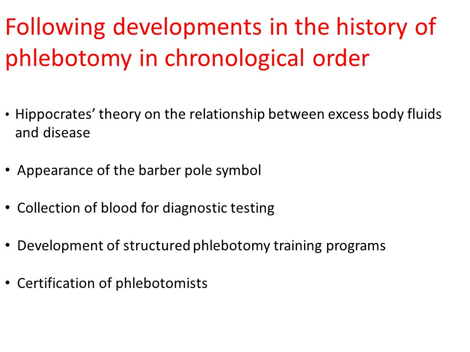 Following developments in the history of phlebotomy in chronological order