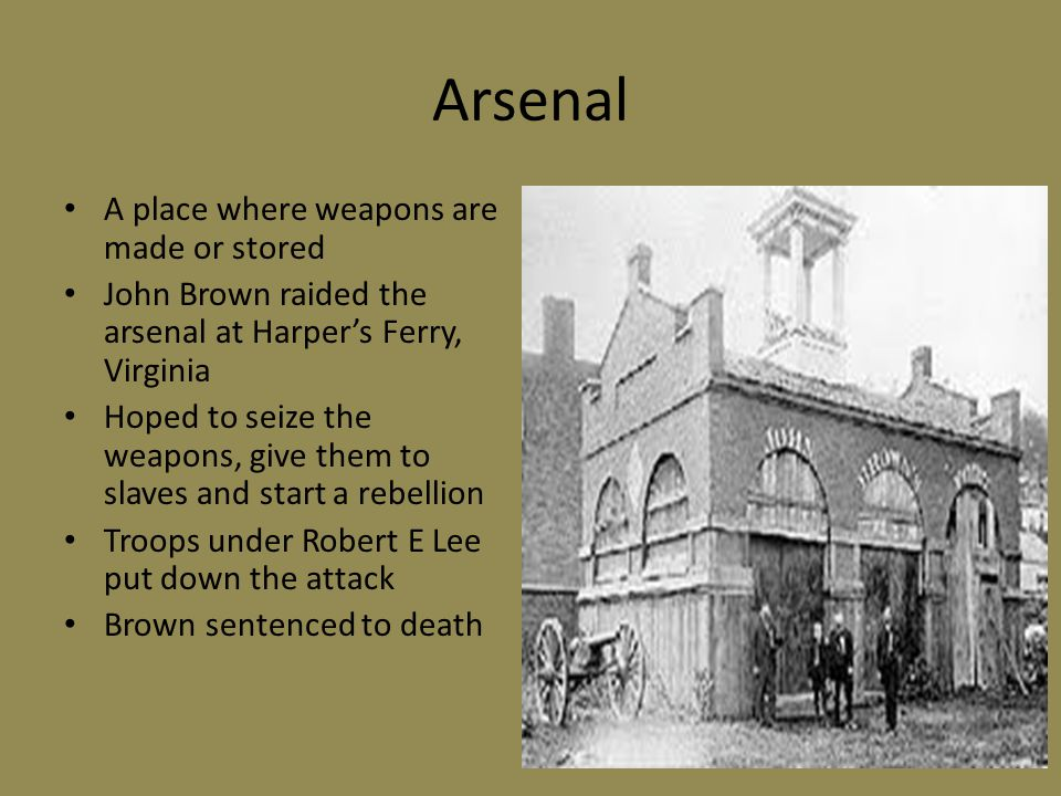 Arsenal A place where weapons are made or stored