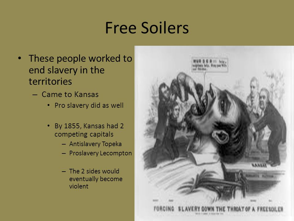 Free Soilers These people worked to end slavery in the territories
