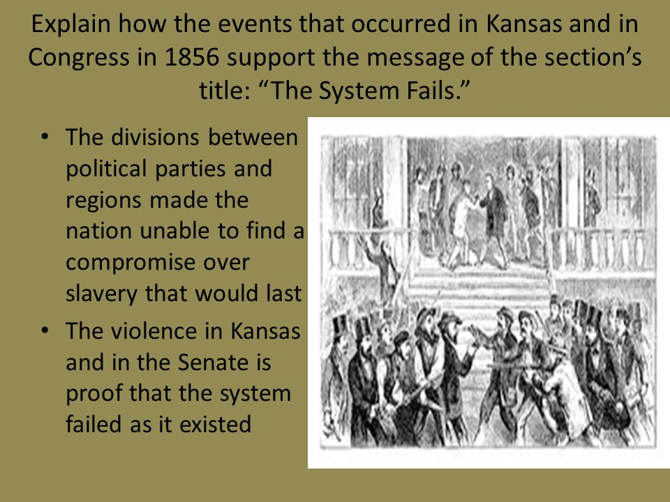 Explain how the events that occurred in Kansas and in Congress in 1856 support the message of the section's title: The System Fails.