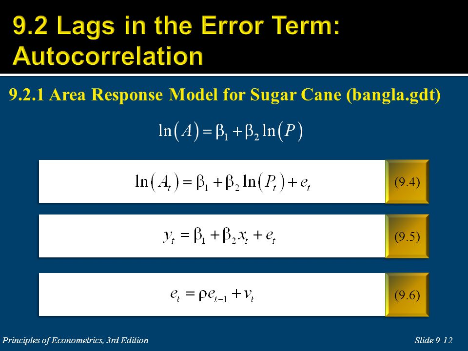 9.2 Lags in the Error Term: Autocorrelation