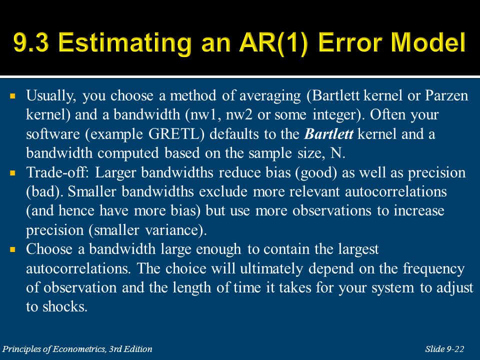 9.3 Estimating an AR(1) Error Model