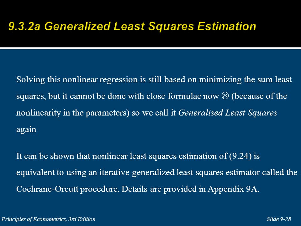 9.3.2a Generalized Least Squares Estimation