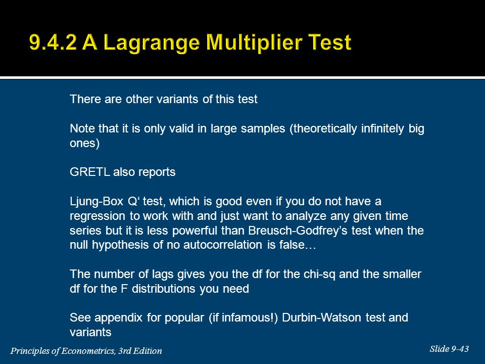 9.4.2 A Lagrange Multiplier Test
