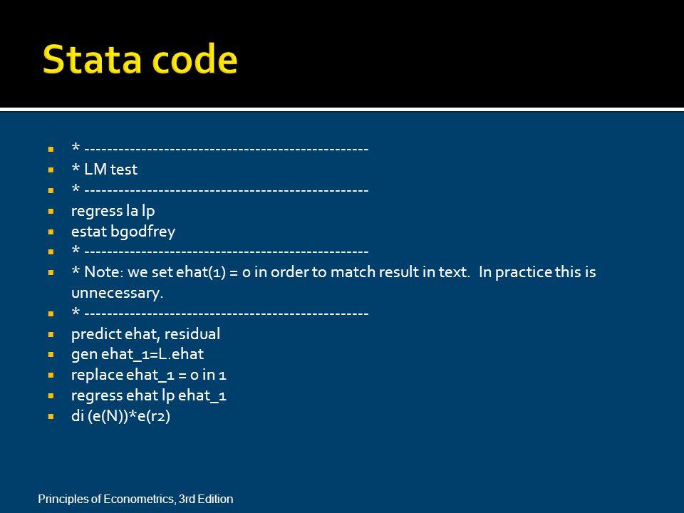 Stata code * --------------------------------------------------