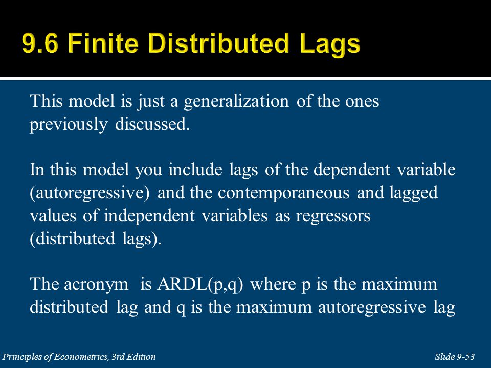 9.6 Finite Distributed Lags