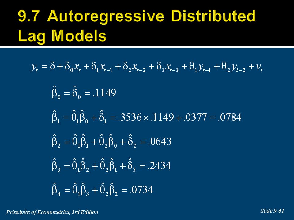9.7 Autoregressive Distributed Lag Models
