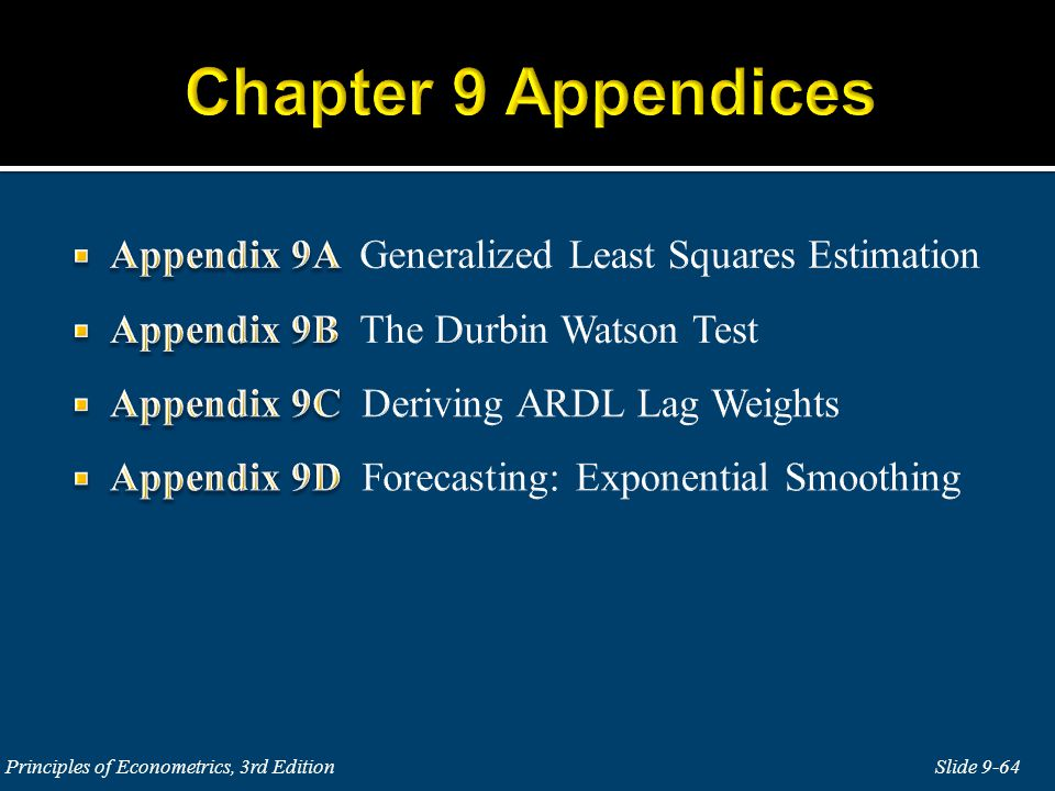 Chapter 9 Appendices Appendix 9A Generalized Least Squares Estimation